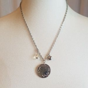 Silver Toned Necklace with Rhinestones